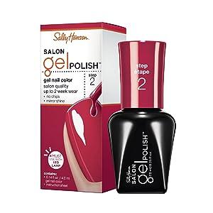 Sally Hansen Salon Pro Gel Nail Polish Lacquer, Red My Lips, 0.24 Fl. Oz.