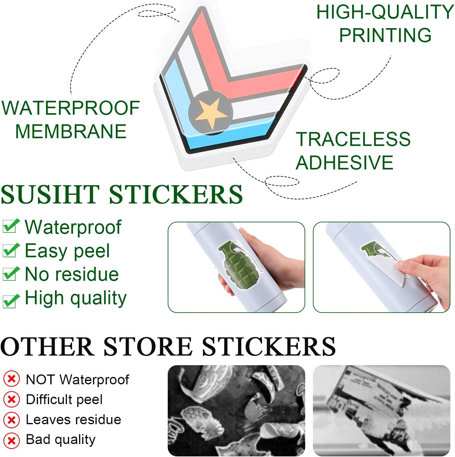 100 Pieces Military Stickers for Army Waterproof Patriotic Army Sticker Adhesive Helmet Stickers Tactical Stickers Laptop Vinyl Decals Pack for Water Bottle Car Motorcycle Hard Hat