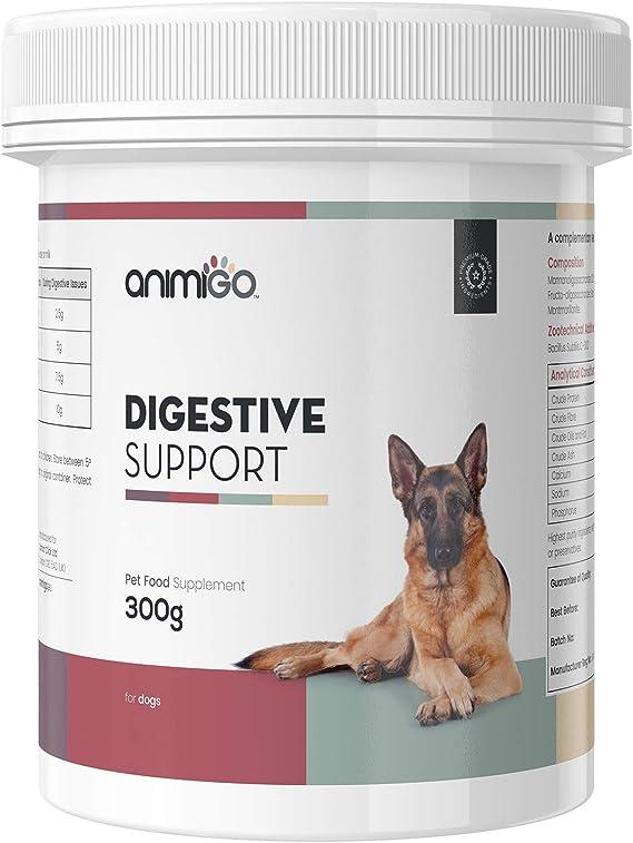 Animigo Probióticos para Perros | Suplemento Digestivo Natural en Polvo con Enzimas Digestivas | con Fibra y Minerales | Prevenir contra la Hinchazón Abdominal, Vómitos y Diarrea | Polvo 300g: Amazon.es: Productos para mascotas