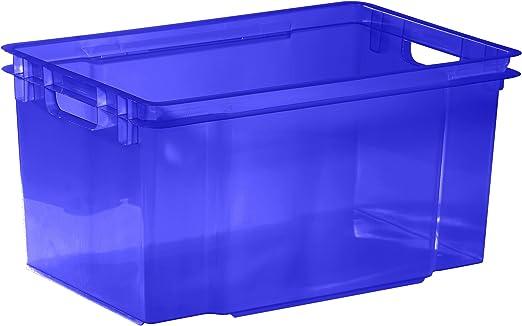 Allibert 211798 Caja y Cesta de almacenaje - Cajas y cestas de almacenaje (Storage Box, Azul, De plástico, Monótono, Rectangular, ISO): Amazon.es: Hogar