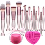 BS-MALL Makeup Brushes Stand Up Premium Synthetic Foundation Powder Concealers Eye Shadows Makeup 14 Pcs Brush Set,with Makeu