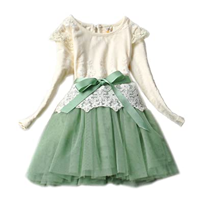 Girls Baby Toddlers Party Pageant Vintage Lace Dress Tulle Tutu Skirt Green 140
