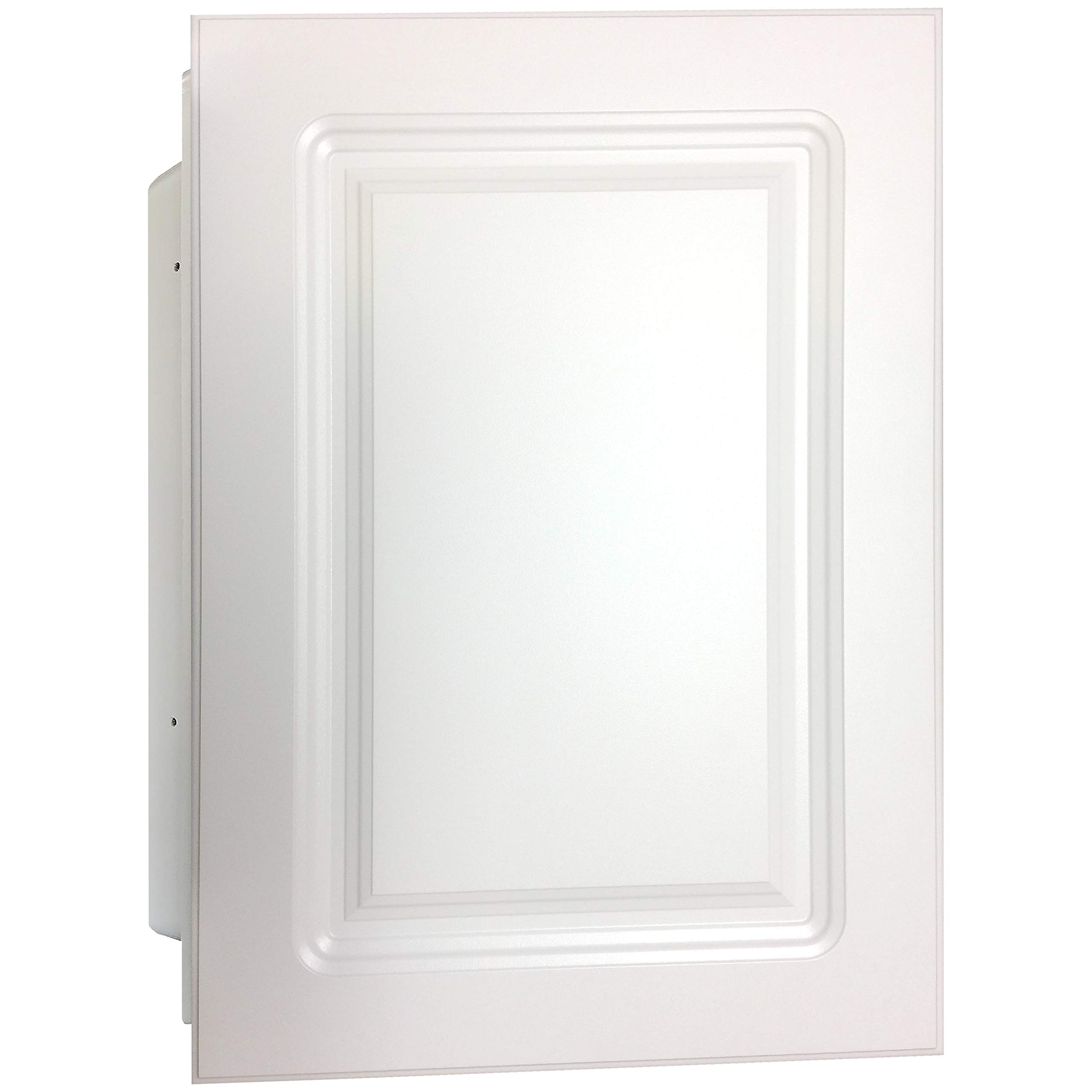 Mirrors and More Recessed White Raised MDF Wood Panel Medicine Cabinet | Fixed Shelf | Bathroom | Kitchen | 16'' x 22''