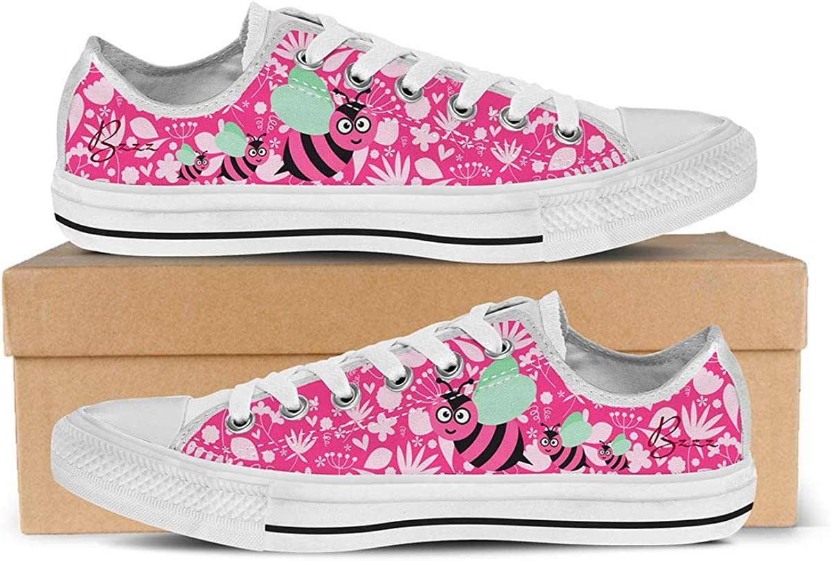 Cute Bee - Womens Low Top Sneakers