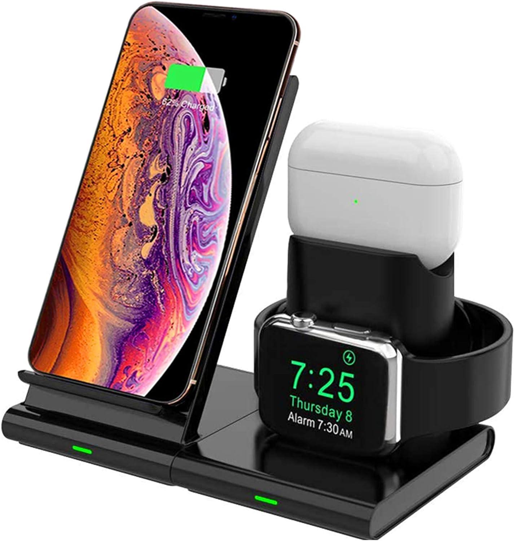 Hoidokly Cargador Inalámbrico, 3 en 1 Soporte de Carga para iPhone y Apple Watch, Base de Carga Rápida para iWatch 1/2/3/4/5, AirPods, iPhone 11/11 Pro MAX/XS MAX/XR/X(No Cable de Carga del iWatch)