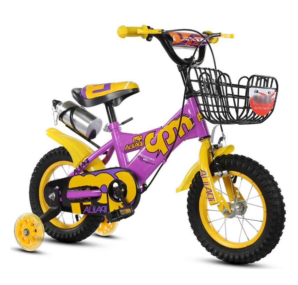 子供の自転車12|14|16|18インチアウトドアの子供ベイビーキッドマウンテンバイクフラッシュトレーニングホイールで2歳から10歳の男の子の女の子の贈り物|アイアンバスケット|水ボトル調整可能な安全な負荷100KG B078GPFL8D 18 inches|パープル ぱ゜ぷる パープル ぱ゜ぷる 18 inches