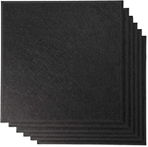 """Rhino Acoustic Absorption Panel 12"""" x 12"""" x 0.4"""" NRC Sound Proof Padding for Echo Bass Isolation Matte Black 6 Pieces Beveled Edge for Wall Decoration and Acoustic Treatment"""