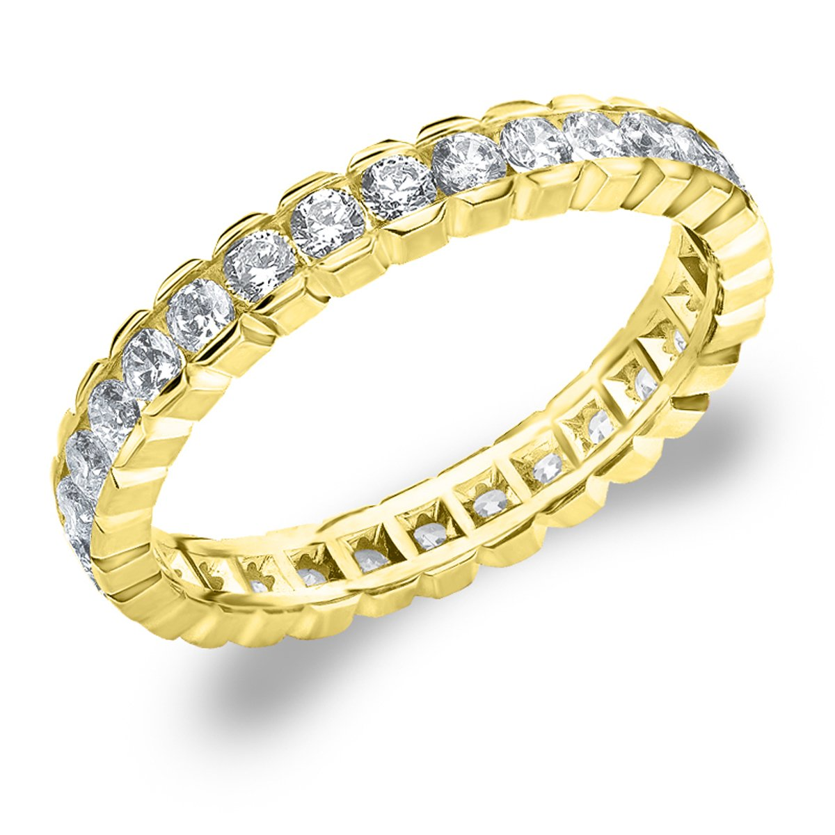 Eternity Wedding Bands 1.0 CTTW Diamond Eternity Ring, 1ct Wedding Anniversary Ring in 10K Yellow Gold - Finger Size 8