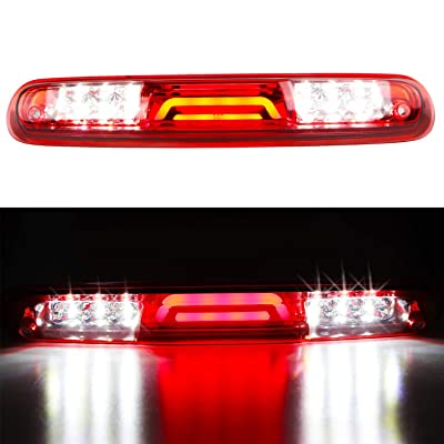 For 2007-2013 Chevy Chevrolet Silverado/GMC Sierra 1500 2500HD 3500HD 3D LED Bar 3rd Third Tail Brake Light Rear Cargo Lamp High Mount Stop light Electroplating Housing (Red): Automotive