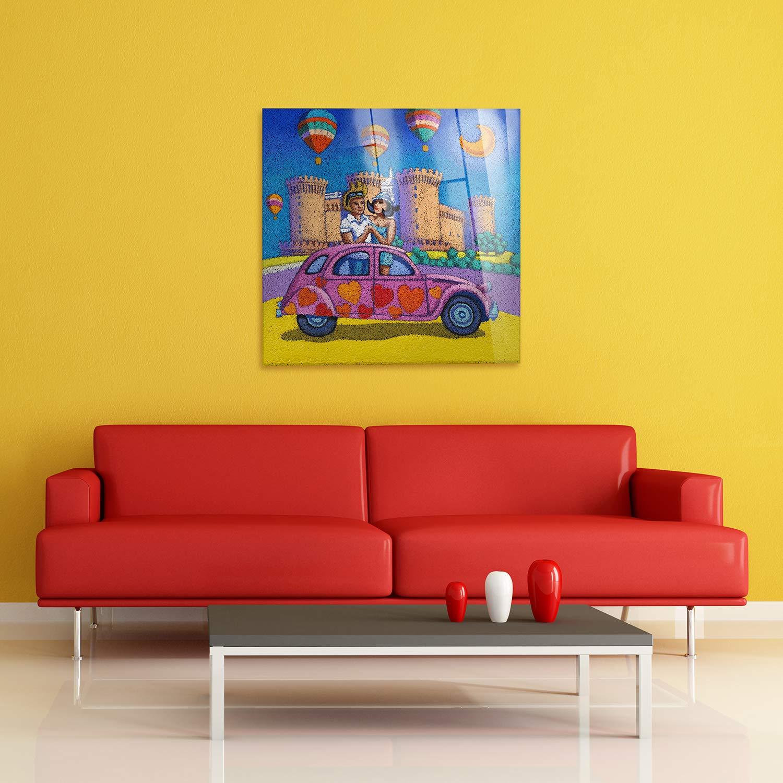 Napoli Stefano Calisti Pronto da Appendere Quadri Moderni arredo casa Decoro Design Stampa su su Vetro Acrilico plexiglass Quadro Giallobus 50x50 cm Vari Formati