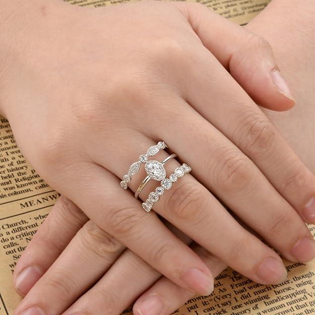 Flyonce Mujer Plata de ley 925 Anillo Arcollas de matrimonio Zirconias elíptica Elegante para regalo novia boda fiesta noche Claro: Amazon.es: Joyería