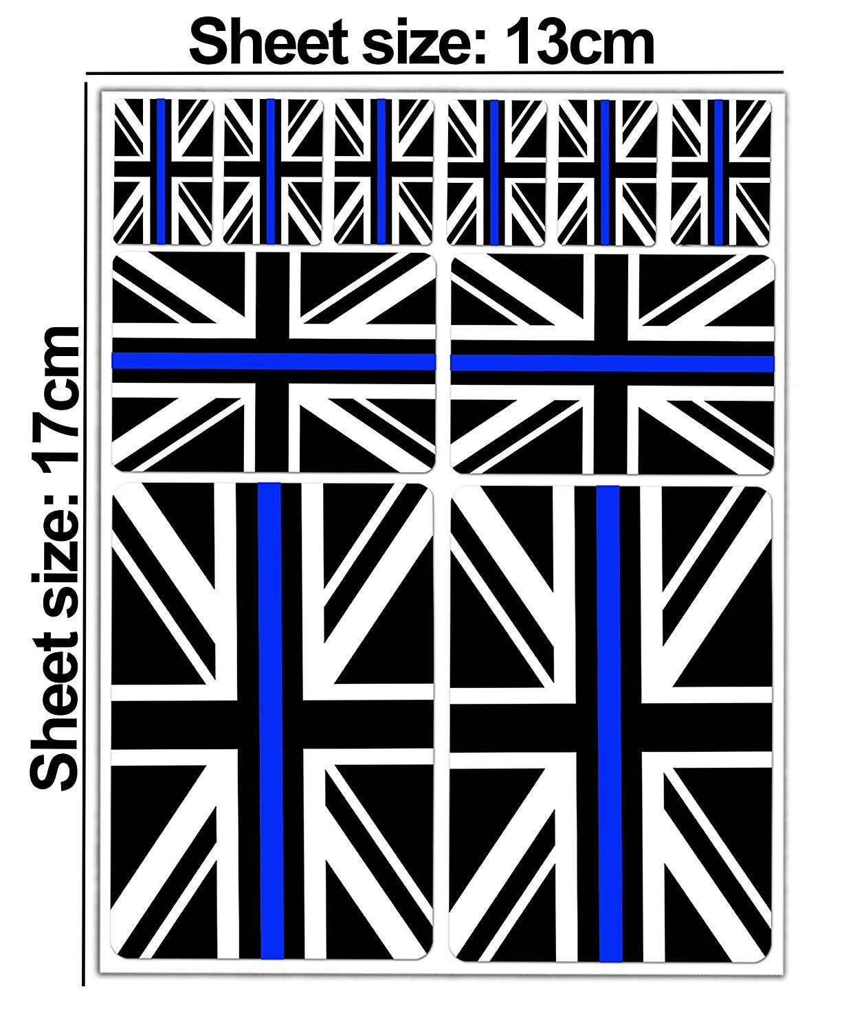 Set of 10 x Vinyl Stickers Decals UK National Thin Blue Line United Kingdom Union Jack Stealthy Police Flag Car Motorcycle Helmet D 40