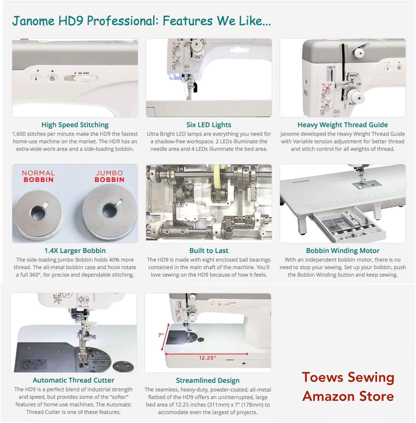 with Extra Large Bobbin Janome HD9 Heavy Duty High Speed Portable Industrial Sewing Machine