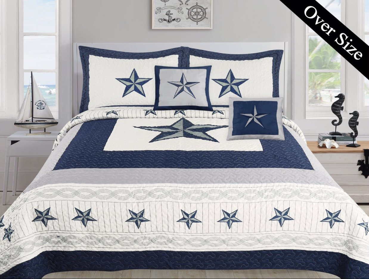 Dallas Cowboys Blue Star Comforter Set - 5 Piece Set (Bonus Pack) (Oversized King)