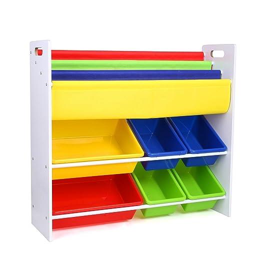14 opinioni per HOMFA Mensola Libreria Porta Giocattoli con Scatole per Bambini, Organizzatore
