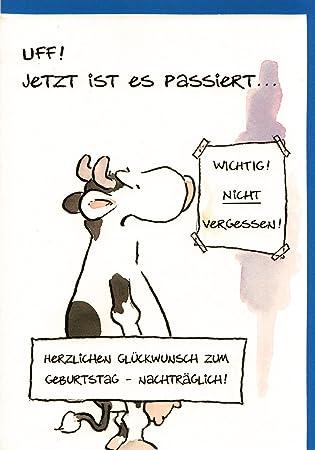 Geburtstagskarte Nachtraglich Witzig Geburtstag Vergessen Kuh