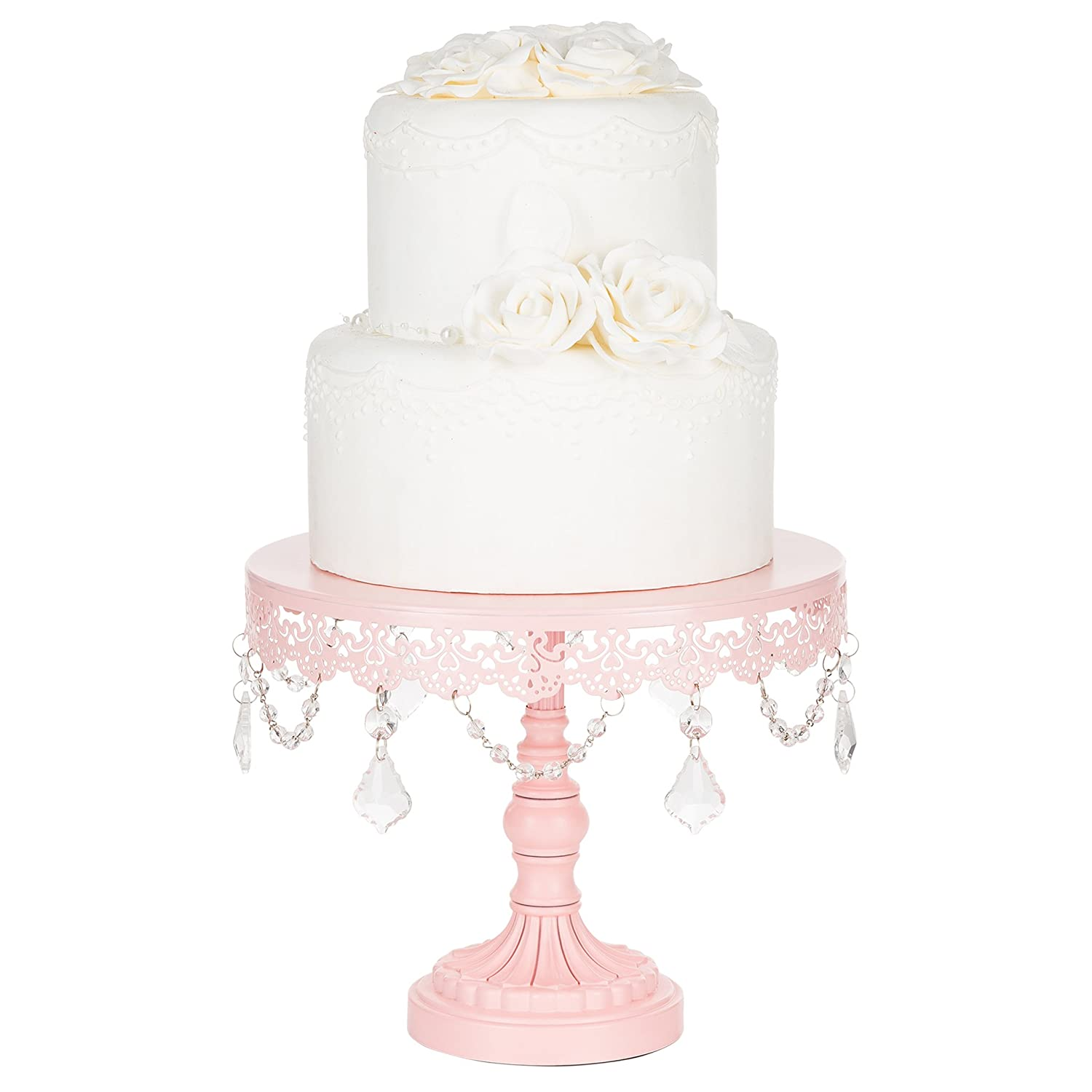 Amazon.com | Sophia Collection Pink 10 Inch Cake Stand with Crystals, Round  Metal Wedding Birthday Dessert Cupcake Pedestal Display: Cake Stands
