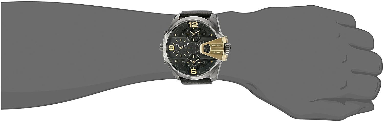 Amazon.com: Diesel Mens DZ7377 Uber Chief Gunmetal Black Leather Watch: Watches