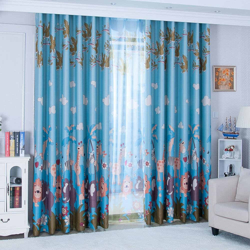 GBSELL New Animal Paradise Print Shading Door Window Curtain Drape Panel Sheer Scarf Valances,150x270cm (Blue)