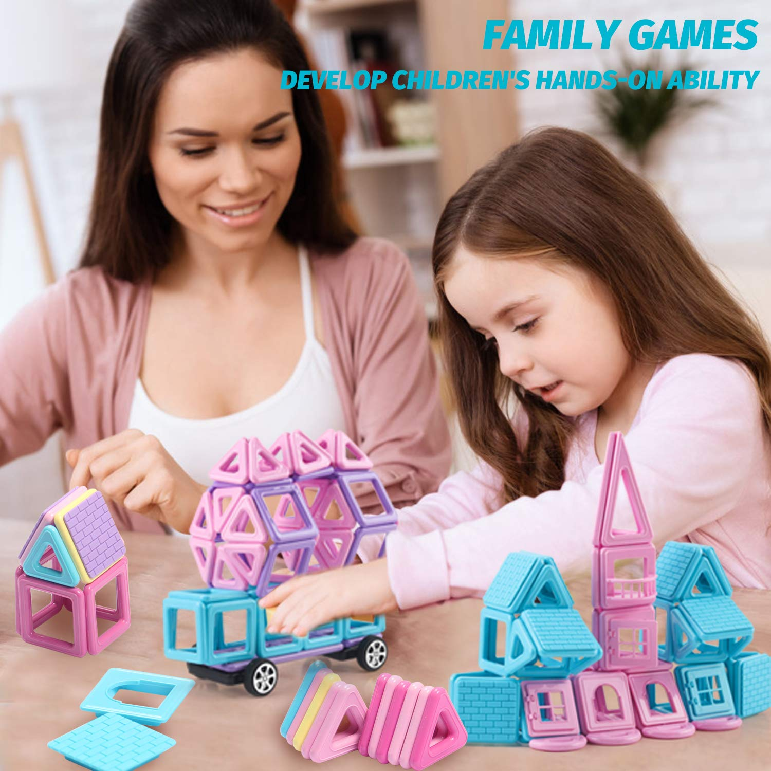 HOMOFY 124PCS Castle Magnetic Blocks Toys for Kids -3D Macaron Colors Learning & Development Building Blocks Figure Kits Toys for 3+ Years Old Girls Boys Toddlers by HOMOFY (Image #2)