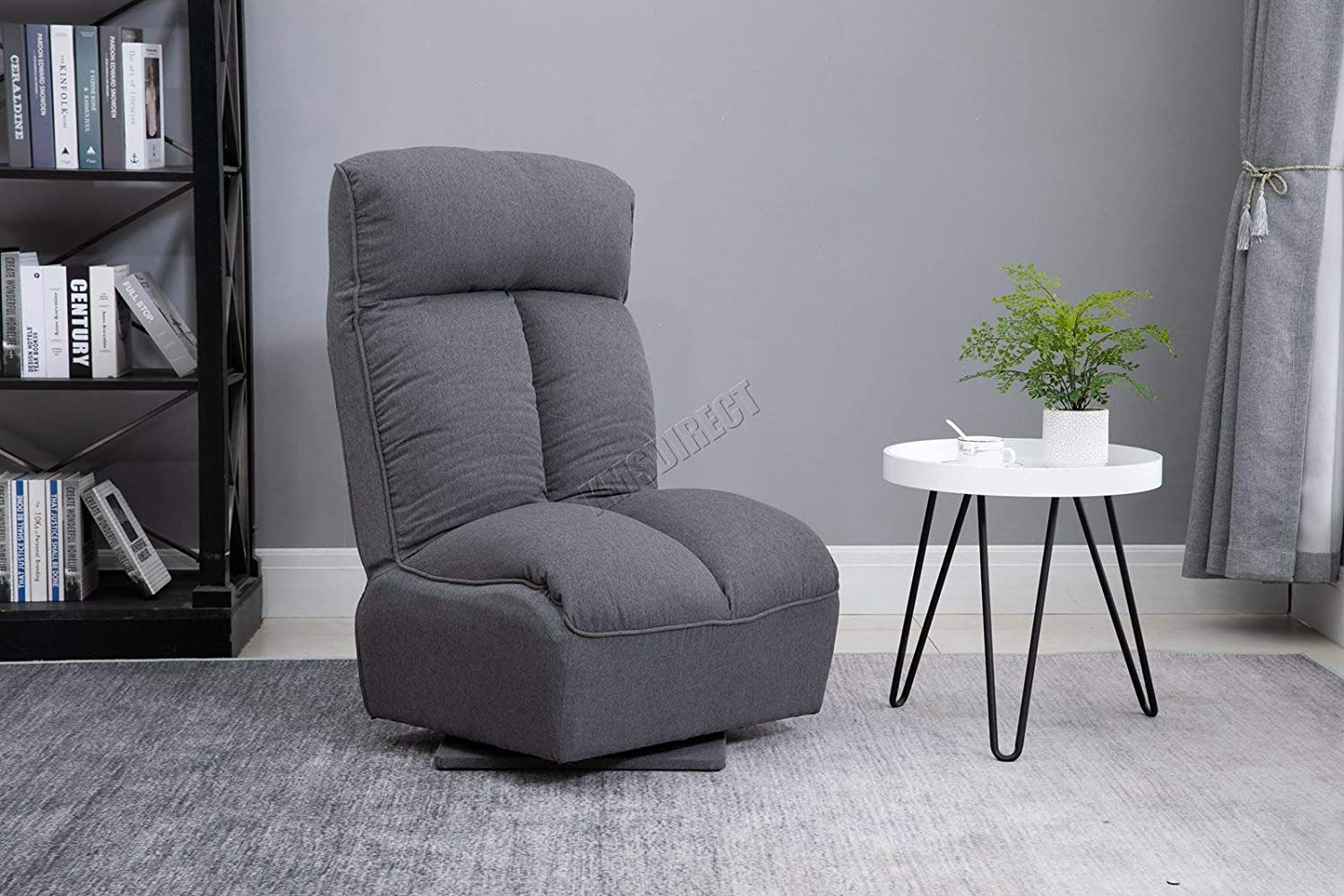WestWood Floor Lazy Sofa Multi Adjustable Backrest and Headrest 360 Degree Swivel Recliner Chair Livingroom Restroom WW-9100 Grey