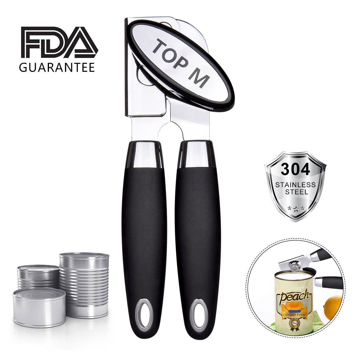 Can Opener,Can Opener Manual Food-Safe FDA Stainless Steel, NO-Rust, Ergonomic Anti Slip Design Big Knob For Easy Turn,Home Restaurant Smooth Edge Can Opener Can Openers Suitable For The Elderly (A)