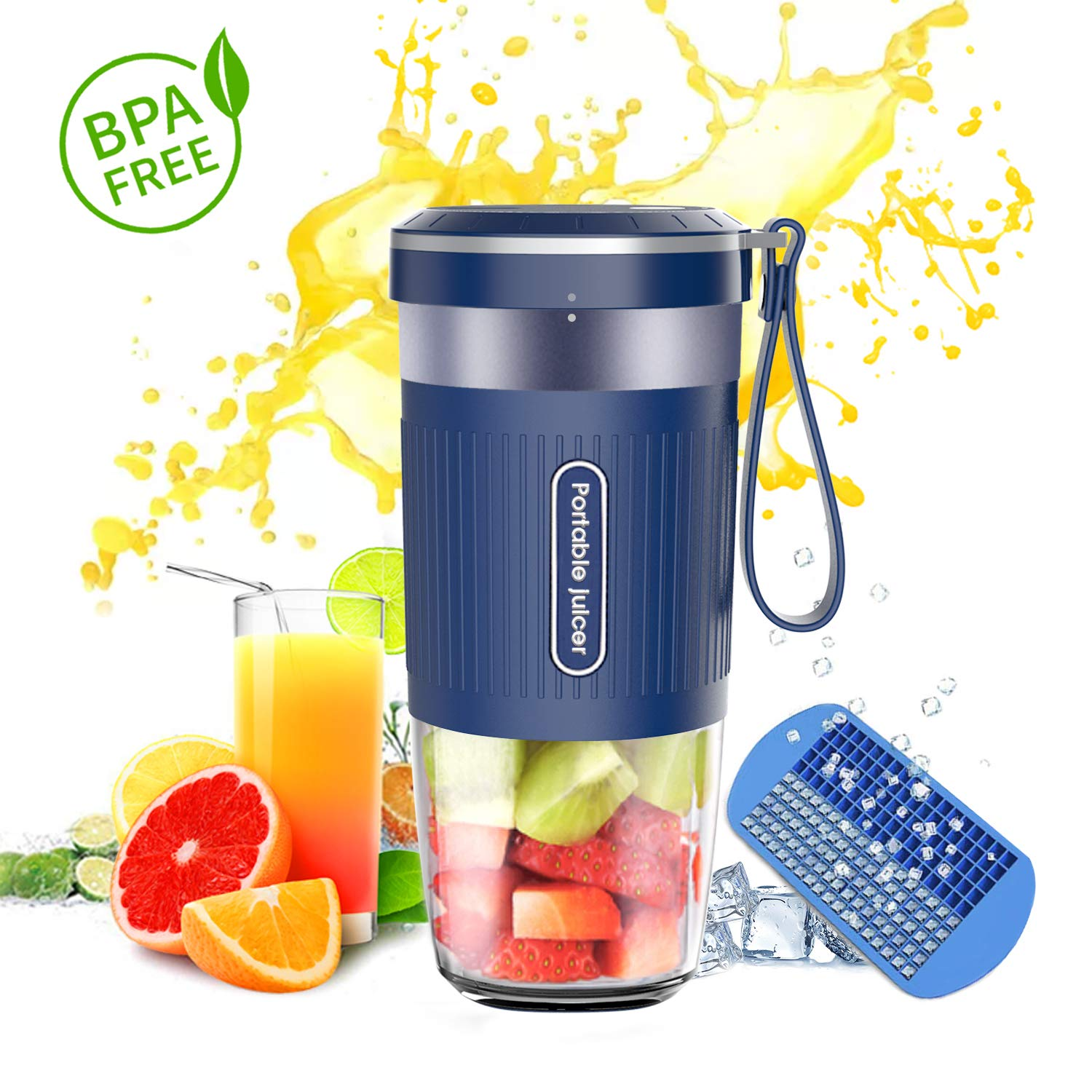 Portable Blender,DOUHE Cordless Mini Personal Blender Small Smoothie Blender USB Fruit Juicer Mixer -Home Outdoor Travel Office - USB Rechargeable,IP68 Waterproof, BPA Free,10oz