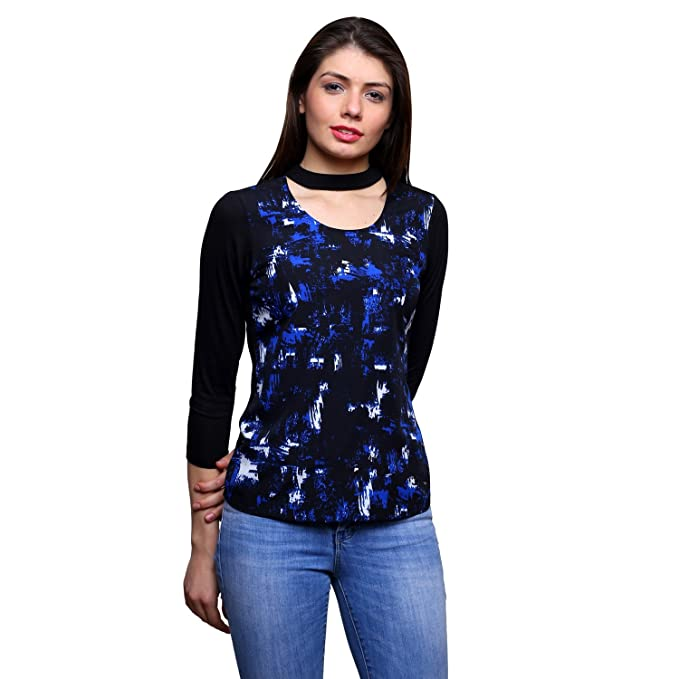1c04fc17 Trendsnu Black Choker Neck Full Sleeves Jersey Top With Printed  Front(TNU0178) (X