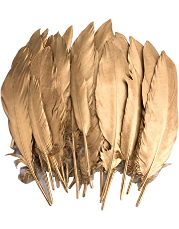 Plumas de Ganso, 40 pcs Oro Natural Plumas de Gallo Manualidades Decoración para Disfraces Hats
