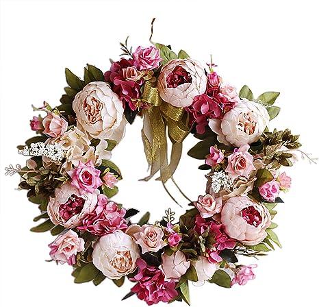 T/ürkranz Wandkranz Kunstblumen Kranz mit Rosen und Rattan Dekoration Helle Rosa