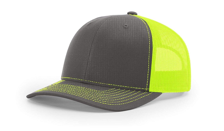 4176e051 Richardson Twill Mesh Back Trucker Snapback Hat -- Charcoal/Neon Yellow at Amazon  Men's Clothing store: