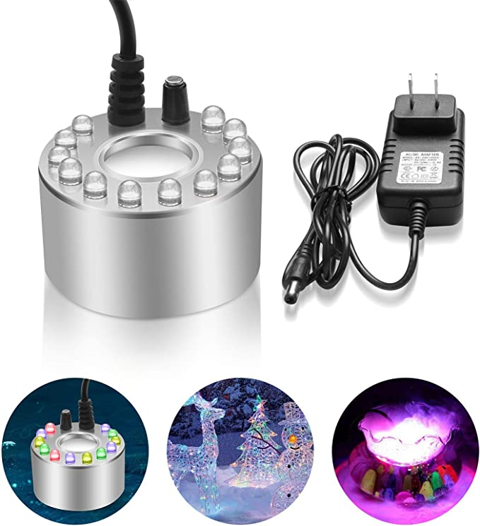 Air Purifier Humidifier Party Prop Fogger Water Fountain Pond Smoke Fog Machine Atomizer Mrinb Colorful Halloween Mist Maker 12 LED
