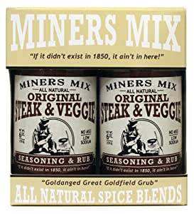 Miners Mix Steak and Veggie All Purpose Low Salt Seasoning Rub For Grilled, BBQ, Smoked, or Oven-Roasted Beef, Steaks, Pork, Lamb, and Vegetables. All Natural No MSG, Clean Ingredients 2 Pack