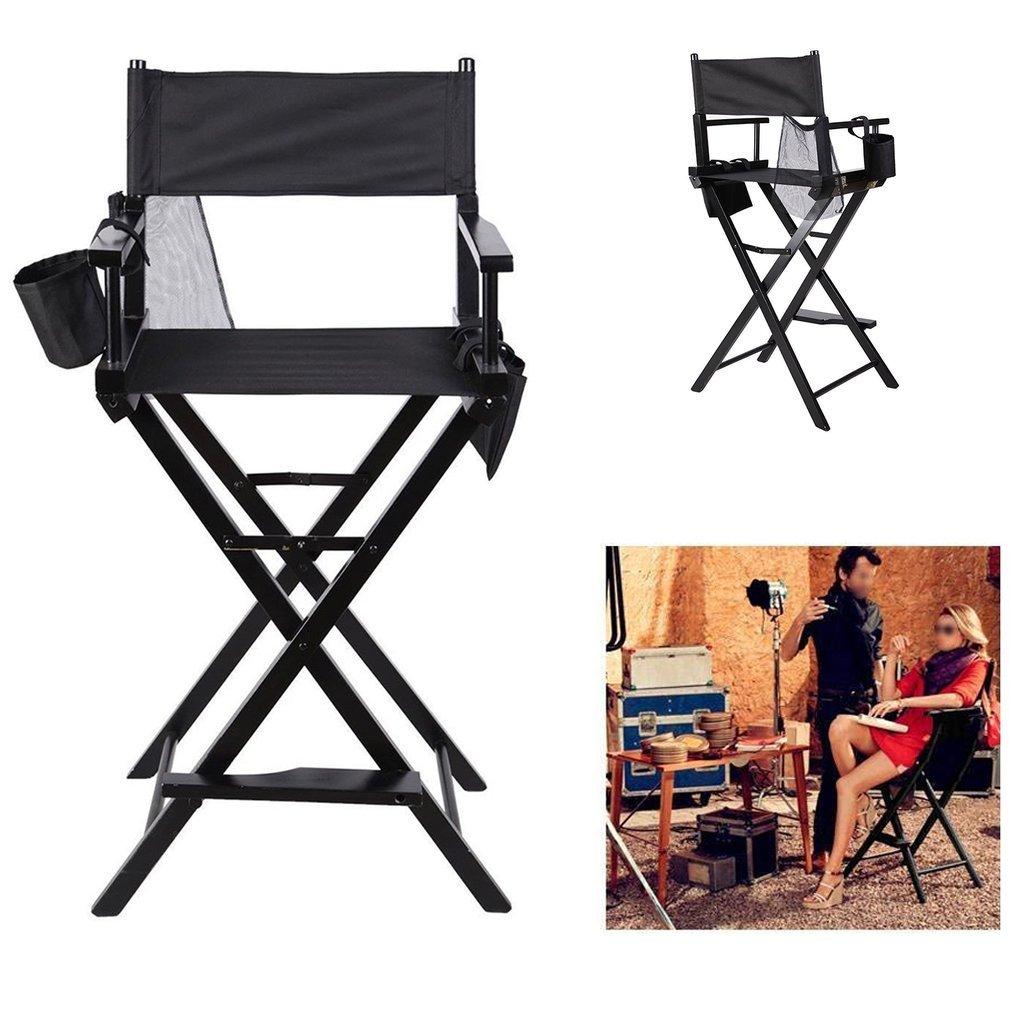 COMOTS pieghevole makeup artist regista sedia portatile professionale resistente, leggero in legno massello sedia pieghevole con borse laterali nero