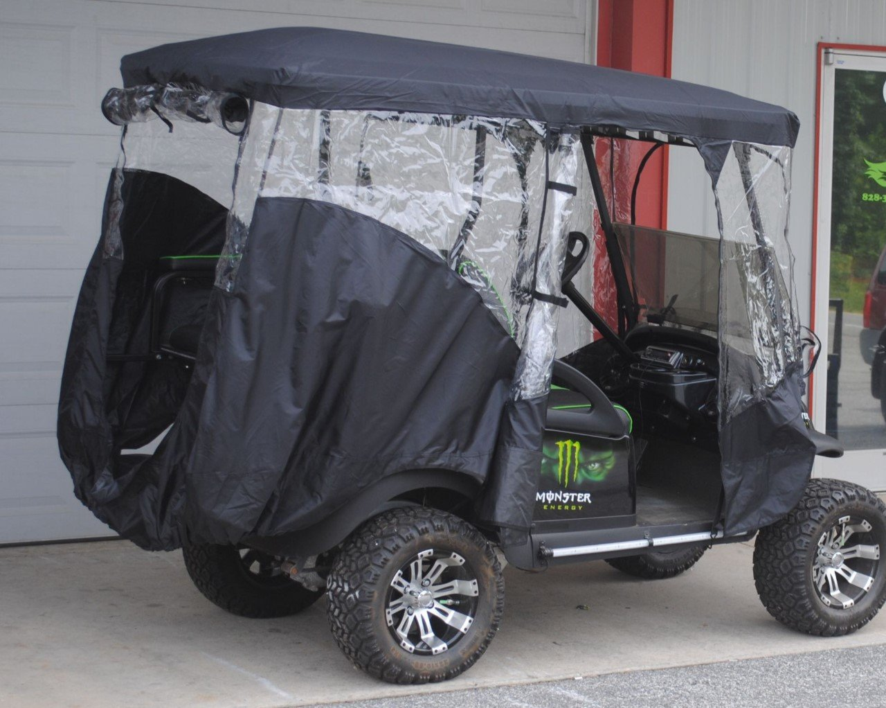 Rain Cover Enclosure for LIFTED CARTS Golf Cart 4 Four passenger with Extended Roof and Back Seat Black EZGO Clubcar Yamaha by Rugged Covers (Image #4)