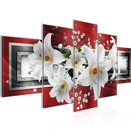 Bilder Blumen Lilien Wandbild 200 x 100 cm Vlies - Leinwand Bild XXL Format  Wandbilder Wohnzimmer Wohnung Deko Kunstdrucke Rot 5 Teilig - MADE IN ...