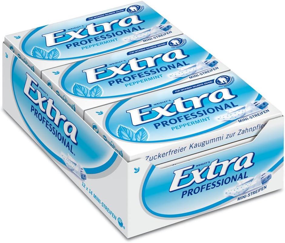 Wrigley Extra Professional Peppermint 14 - Tiras (12 paquetes de 14 mini tiras)
