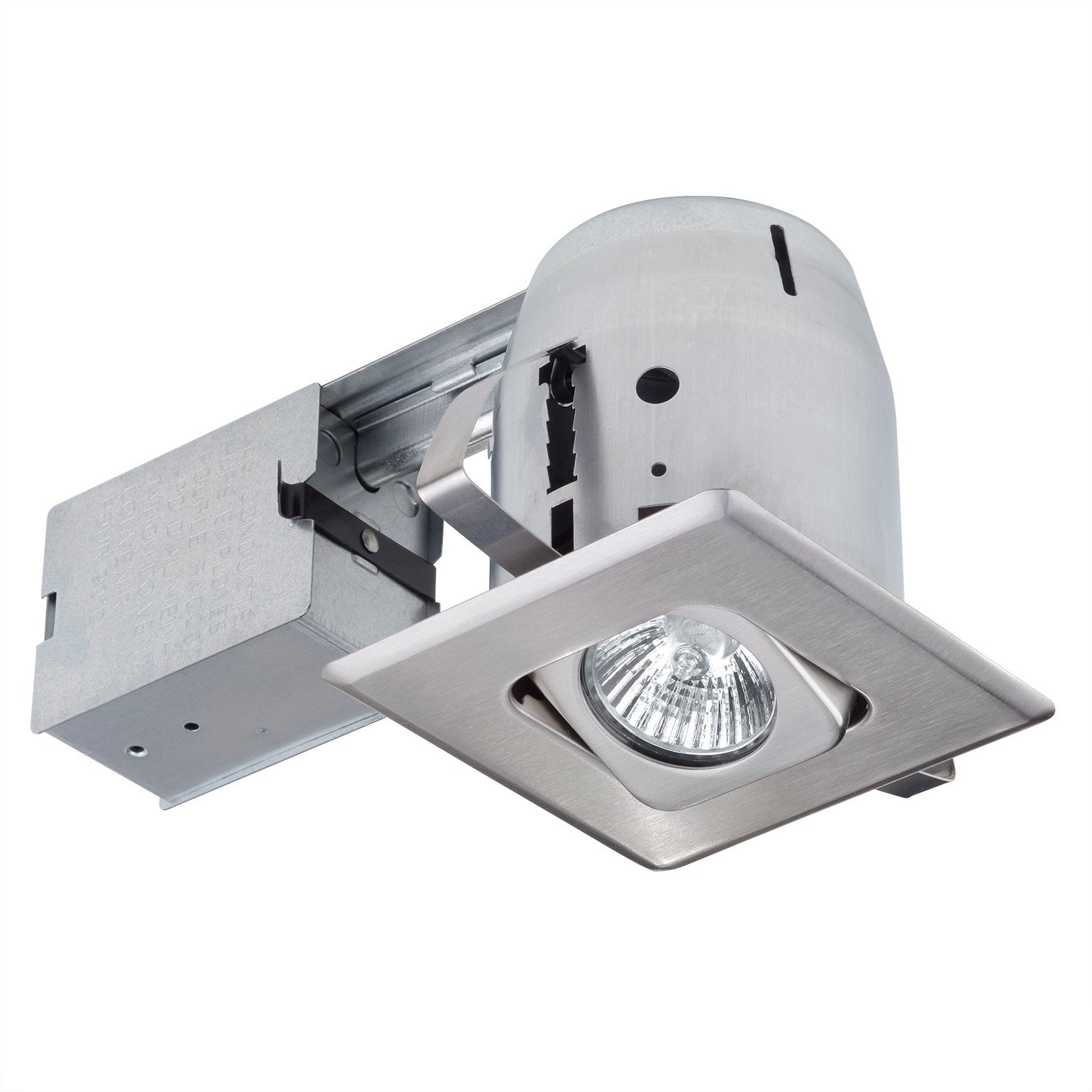 4  Dimmable Downlight Swivel Spotlight Recessed Lighting Kit Easy Install Push-N-Click Clips (1-Pack) Brushed Nickel Square Trim Globe Electric 90039  sc 1 st  eBay & 4