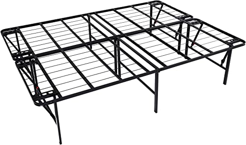 intelliBASE Lightweight Easy Set Up Bifold Platform Black Metal Bed Frame