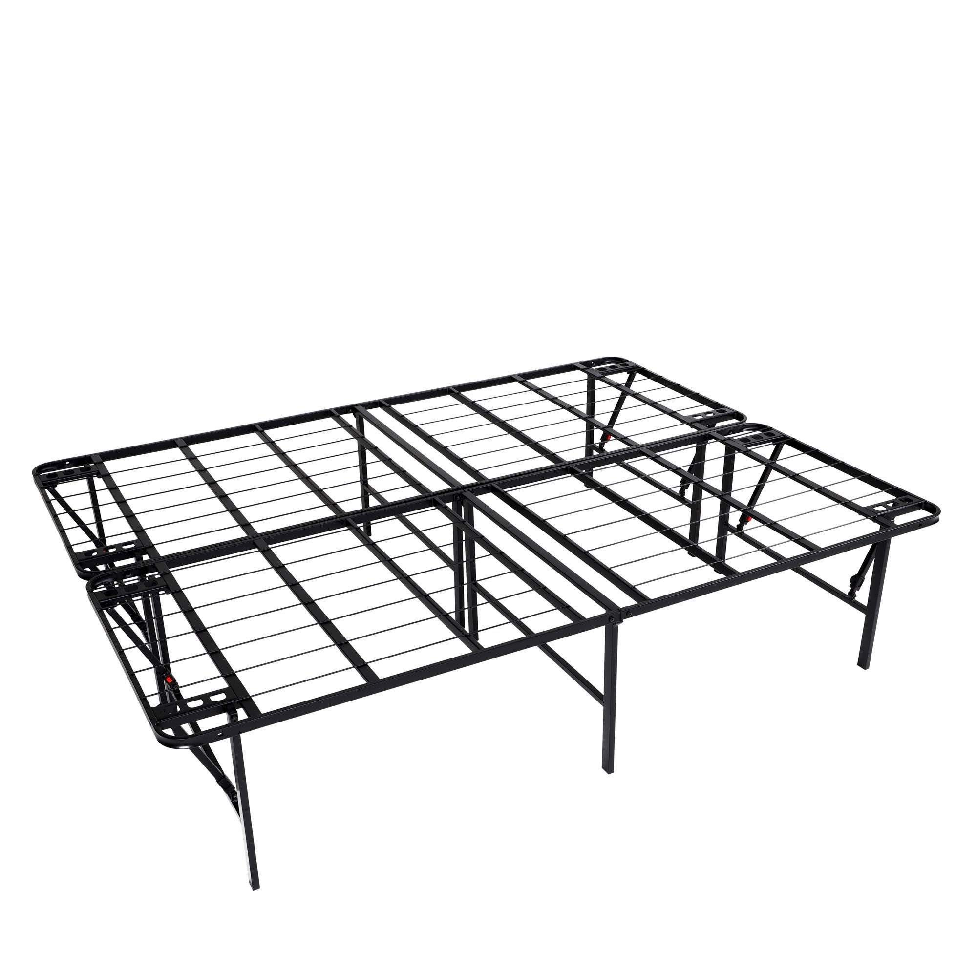 intelliBASE Lightweight Easy Set Up Bifold Platform Black Metal Bed Frame, Queen by intelliBASE