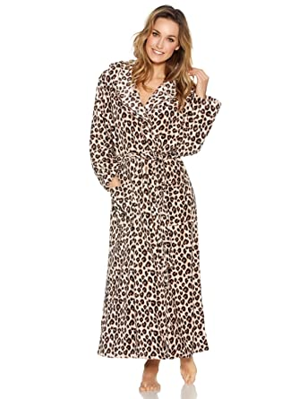 M Co Ladies Long Sleeve Full Length Cosy Fleece Leopard Animal Print Wrap  Robe Dressing Gown Tan 300ed4a2f