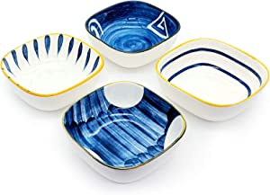 Porcelain Sauce Dishes Side Dish Sushi Dipping Bowls Japanese Style Tableware Serving Dish Appetizer Plates Stackable Ramekins, Set of 4