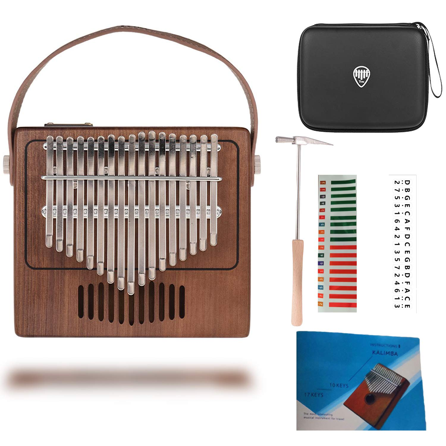 TOM Kalimba, 17 Key Thumb Piano with EVA High-performance Protective Case, Tune Hammer And Study Instruction 17 Finger Tone Mbira for Kids Adult Beginners Professionals by TOM