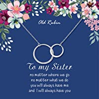 OR OLD RUBIN Sister Necklace, 925 Sterling Silver Interlocking Circles Necklace Big Sister Gifts, Sister Gifts for Sister, Sister Birthday Jewelry Gifts, Sisters Gifts, Gift for Sister…
