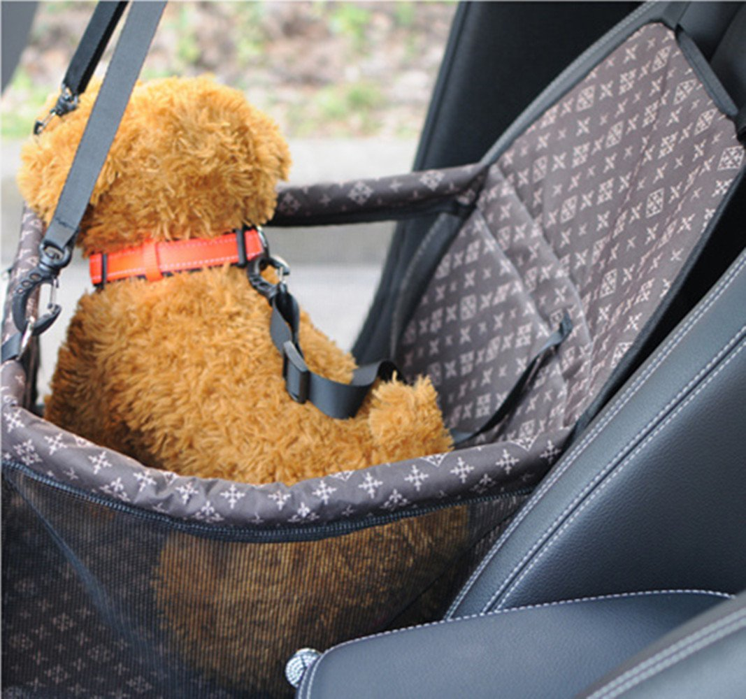 SWIHEL Pet Car Booster Seat Travel Carrier Cage Brown Oxford Breathable Folding Soft Washable Travel Bags for Dogs Cats or Other Small Pet.