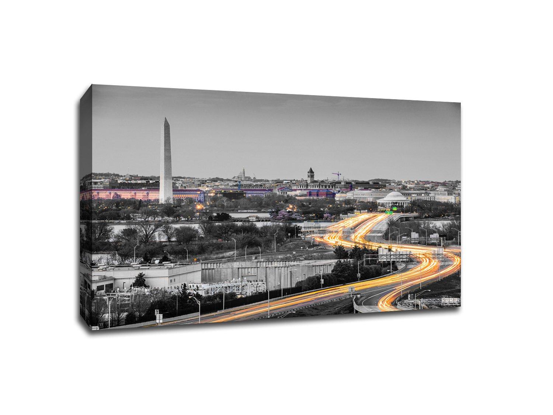ワシントンDCのタッチカラーSkylineギャラリーWrappedキャンバス壁アート 24x16 762988940210 24x16  B01NBAWK5A