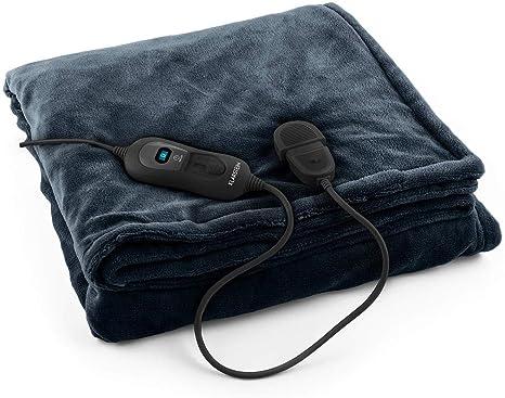 Klarstein Dr. Watson XL - Manta eléctrica , Frazada eléctrica , Calentador de Cama , 180 x 130 cm , 120 W , 3 Temperaturas , Temporizador , Apto ...