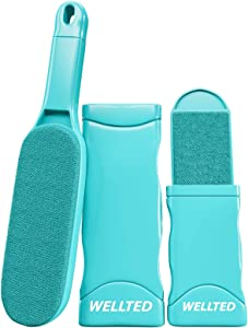 WELLTED Pet Hair Remover - Self-Cleaning Brush for Lint & Hair Removal - Portable Dog or Cat Fur Cleaner Tool for Furniture, Carpet, Clothing, Car Seat & Upholstery - Reusable Pet Accessories