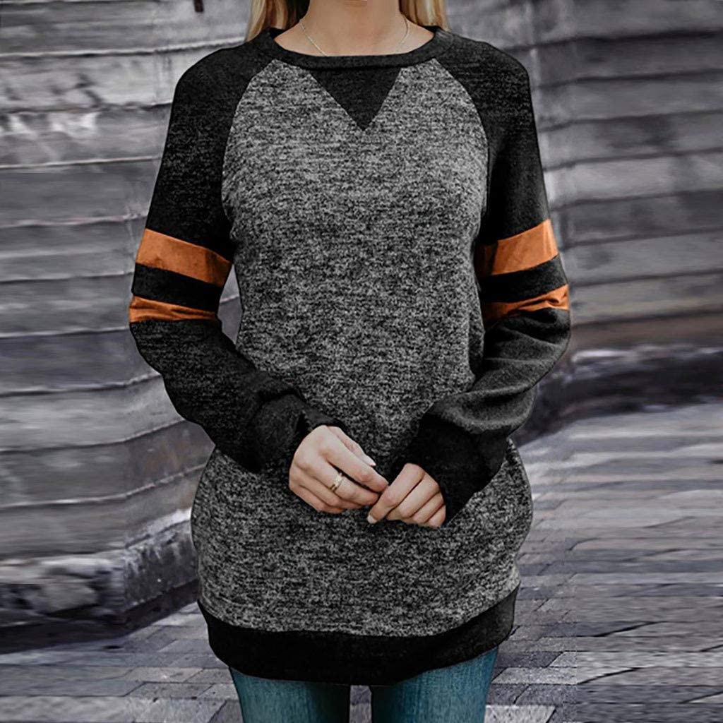 Eoeth Fashion Women Casual O-Neck Striped Patchwork T-Shirt Long Sleeve Loose Tops