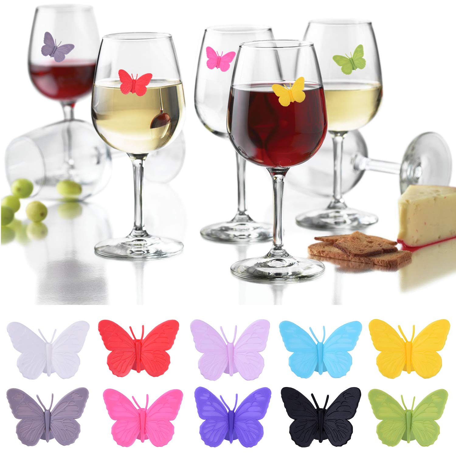 Wine Glass Charms Set of 10 Silicone Drink Glass Markers &Wine Charm Tags with Suction Cup for Stemless Glasses, Beer Mugs & More (Butterfly assorted) by ALYC (Image #2)